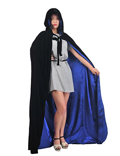 [Christmas Deluxe Cloak Adult Halloween Costumes Capes, black & royal blue, L] (Velvet Gothic Cloak 63 Deluxe Costumes)