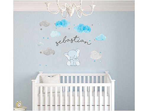 Custom Name Clouds And Elephant Animal Series - Baby Boy - Nursery Wall Decal For Baby Room Decorations - Mural Wall Decal Sticker For Home Children's Bedroom (AM) (Wide 22