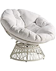 OSP Home Furnishings Wicker Papasan Chair with 360-Degree Swivel, White Frame with White Cushion