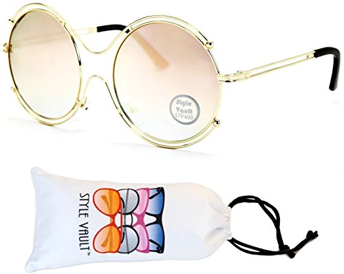 V3044-vp Style Vault Oversized Metal Round Sunglasses (B2884F Gold-Rose Gold Mirror, - Rim Glasses Wire Thin