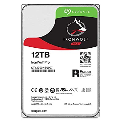 Seagate IronWolf Pro 12TB NAS Internal Hard Drive HDD - 3.5 Inch SATA 6Gb/s 7200 RPM 256MB Cache for RAID Network Attached Storage, Data Recovery Rescue Service (ST12000NE0007)