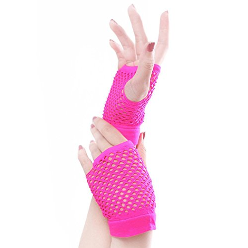 Pink Lace Fingerless Gloves (CMrtew Lady Disco Dance Costume Lace Fingerless Mesh Fishnet Gloves (Hot pink))