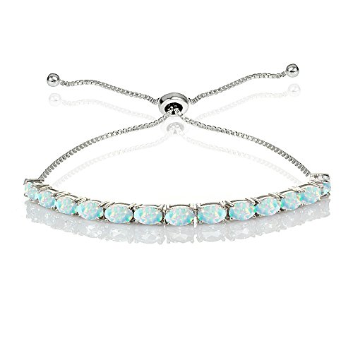 GemStar USA Sterling Silver 5x3mm Created White Opal Oval-Cut Bolo Pull-String Tennis Bracelet
