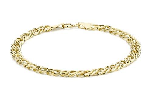 """Jewellery World Bague en or jaune 9carats Double creux bracelet maille gourmette 18cm/7"""""""