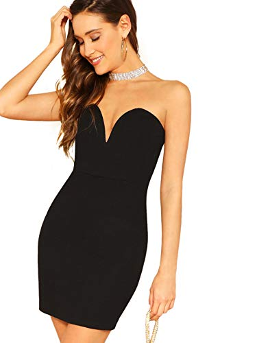 Romwe Women's Sweetheart Neck Club Party Bodycon Sexy Tube Mini Dress Black M ()