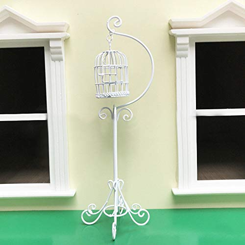 (Brosco 1:12 Doll House Miniature Metal Crafted Bird Cage White Dollhouse Accessories )