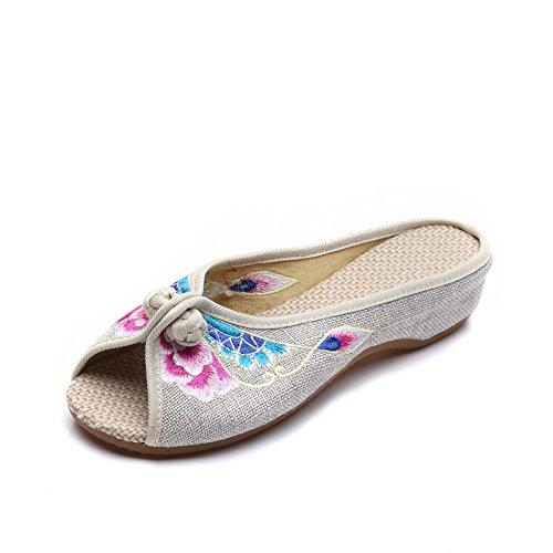ZLL Gestickte Schuhe, Sehnensohle, ethnischer Stil, weiblicher Flip Flop, Mode, bequem, Sandalen , meters white , 41