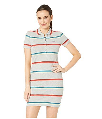 Lacoste Women's S/S Striped Cotton Pique Classic Polo Dress, Silver Chine ()
