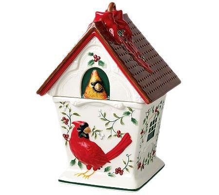 Pfaltzgraff Winterberry Cardinal Birdhouse Cookie Jar (Birdhouse Cookie)