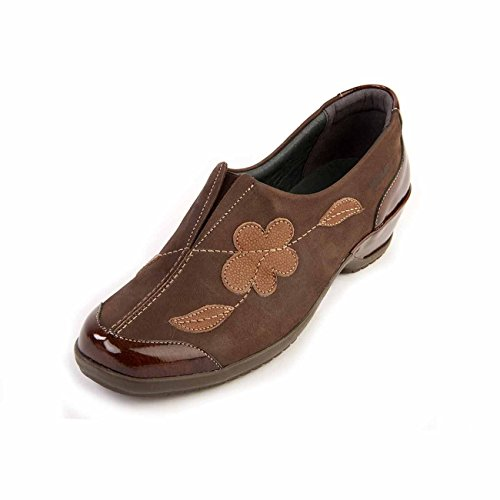 E ee Sole Women's Soft Wide Shoe Fit Removable Non Super slip 'divina' Lightweight Brown Patent Insole Leather Suave SXqYd77