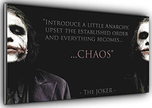Joker Chaos Batman Dark Knight Panoramic Canvas Art Print Picture Framed XXL 55 inch x 24 inch Over 4.5 ft Wide x 2 ft high Ready to Hang]()