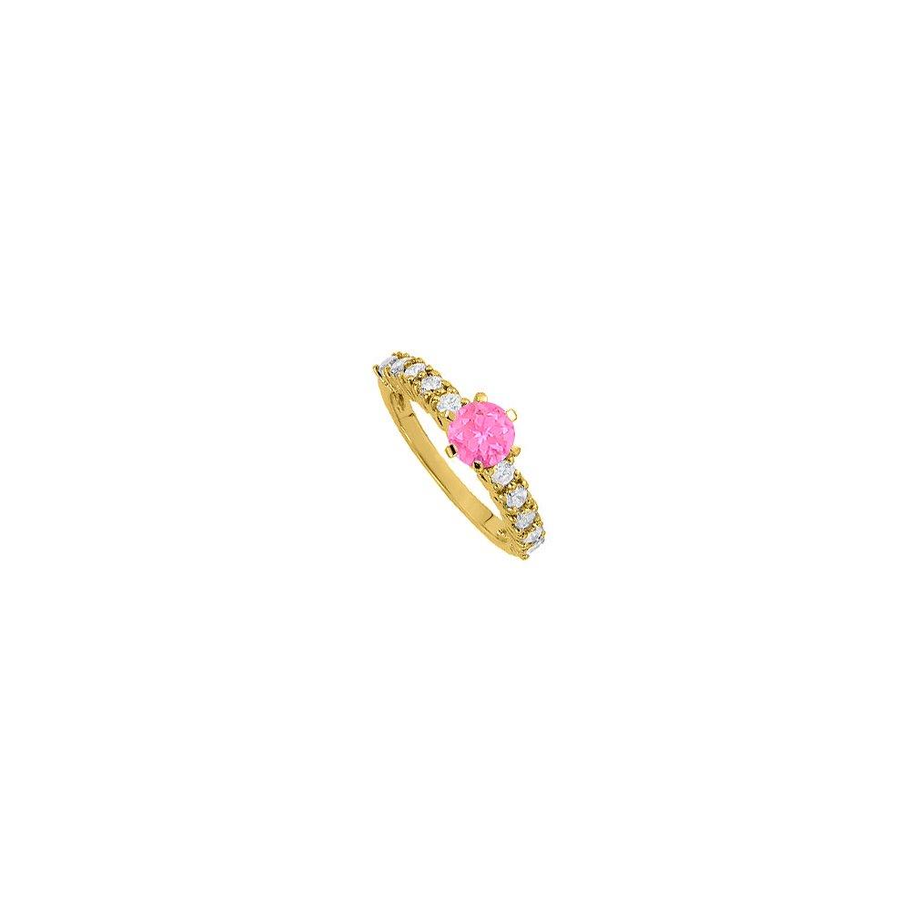 Pink Sapphire CZ Ring in Yellow Gold Vermeil 1.50 TGW
