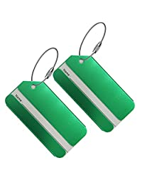 Set of 2 Luggage Tags, Aluminium Metal Travel Suitcase ID Identifier Tag Labels Bag Name Address Label with Screw Chain, Green
