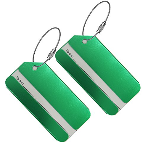 - Set of 2 Luggage Tags, Aluminium Metal Travel Suitcase ID Identifier Tag Labels Bag Name Address Label with Screw Chain, Green