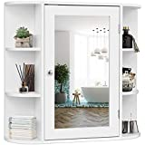 Tangkula Bathroom Cabinet, Single Door Wall Mounted Medicine Cabinet with Mirror(4 Tiers Inner Shelves)