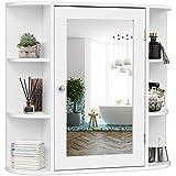 Tangkula Bathroom Cabinet, Single Door Wall Mount Medicine Cabinet with Mirror(4 Tier Inner Shelves)