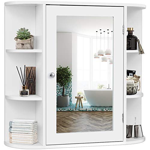 Tangkula Bathroom Cabinet, Single Door Wall Mounted Medicine Cabinet with Mirror 4 Tiers Inner Shelves
