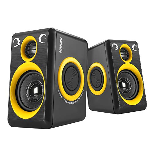 Subwoofer Computer Speakers, Reccazr MP2000 Stereo 2.0 Wired Multimedia Speakers, USB Powered 3.5mm Aux Small PC Laptop Speakers with 4 Bass Diaphragm, Yellow