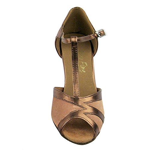 Colección De 50 Zapatos De Baile Shades Of Gold, Comfort Vestido De Noche Wedding Pumps, Zapatos De Salón Para América, Tango, Salsa, Swing, Theather Art En 50 Tonos (2.5 3 Y 3.5 Heels) 2712- Satinado Marrón Y Oro Oscuro