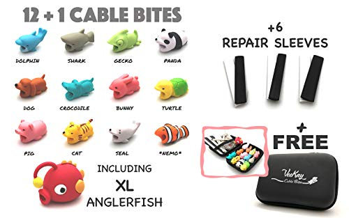 12+1 VeeKay Cable Bites and Repair Kit Cute Animals for iPhone Lightning Android Charging Cord Accessory Protector Saver Includes 6 Repair Sleeves and a Free Carry Case