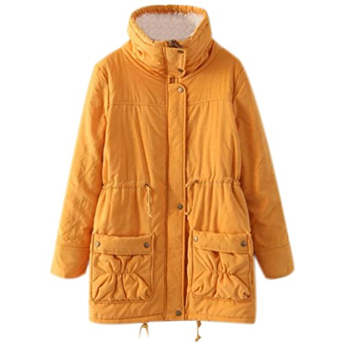 Jacket Fur Anoraks Parkas Trimmed Parka with Faux Parkers for Casual Fur Coat Jackets Long Coats Yellow and Coat Faux Trench Jacket Women qB0qv