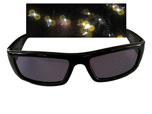 Diffraction Glasses (Black, Smiley - Face Smiley Glasses