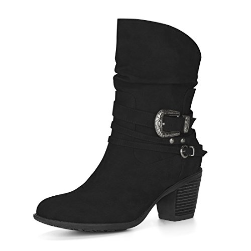 Allegra K Women's Buckle Straps Block Heel Slouchy Boots (Size US 6.5) (Buckled Slouchy Boots)