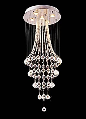 "Saint Mossi Crystal Rain Drop Chandelier Modern & Contemporary Ceiling Pendant Light 5 GU10 Bulbs Required H43"" X D18"""