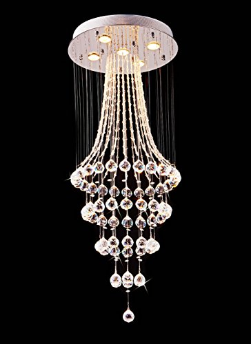 "Saint Mossi Chandelier Modern K9 Crystal Raindrop Chandelier Lighting Flush Mount LED Ceiling Light Fixture Pendant Lamp for Dining Room Bathroom Bedroom Livingroom 5 GU10 Bulbs Required H43"" X D18"""