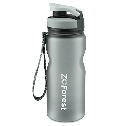 600 Ml Cup - ZCForest 600ml Sports Water Bottle Wide Mouth BPA-Free Water Cups for Students,Travelers,Scalers,Outdoor and Indoor Activities--Gray