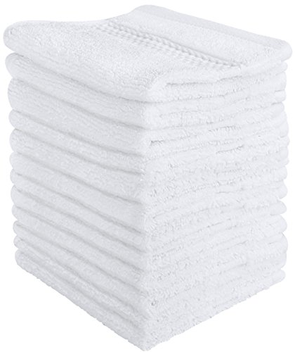 Utopia Towels Luxury Cotton Washcloth Towel Set (12 Pack, White, 12x12 Inches) Multi-purpose Extra Soft Fingertip towels, Highly Absorbent Face Cloths, Machine Washable Sport, and Workout Towels