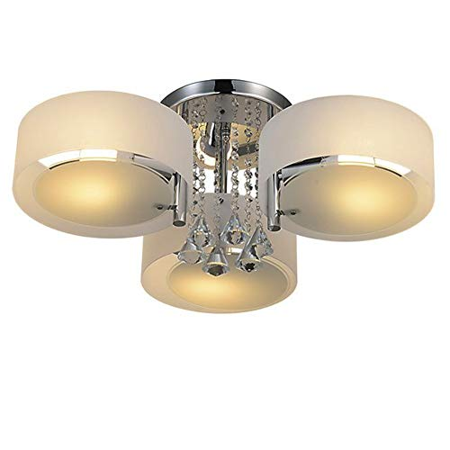 RH RUIVAST Ceiling Light Crystal Chandelier Lighting Semi Flush Mount Ceiling Lights 3-Lights Modern Ceiling Lamp for Dining Room, Living Room, Bedroom (Crystal 3 - Flush Chandelier Semi Crystal
