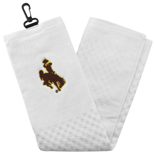 Team Golf NCAA Wyoming Cowboys Embroidered Golf Towel, Checkered Scrubber Design, Embroidered Logo