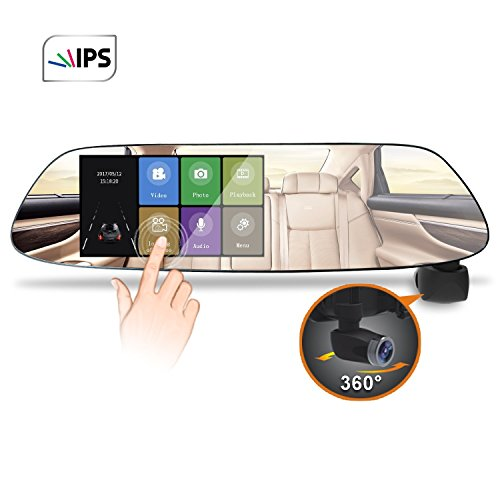 Panoramic Car Dash Cam Momentum 1080P HD 5inch IPS Rear View Mirror Night Vision 360 Degree Ultra Wide Angle Dash Camera Parking Monitor WDR Loop Recording