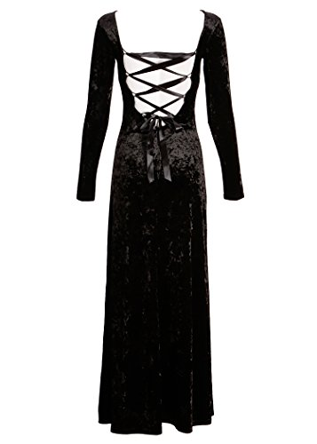 [Womens Black Velvet Laced Back Longsleeve Maxi Dress – Size Medium] (Goth Dress)
