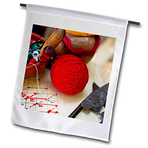 3dRose Alexis Photography - Objects Handicraft - A Ball of red Yarn, a Bowl of spools of Threads, Scissors. Needlework - 12 x 18 inch Garden Flag (fl_308096_1) ()