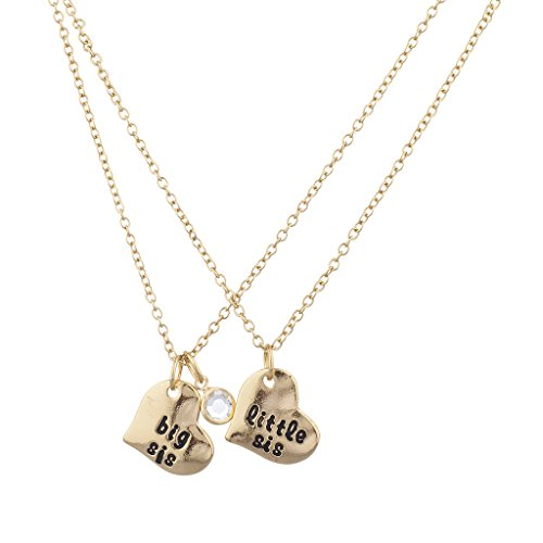 Lux Accessories Goldtone Big Sis Little Sis Heart Charm Necklace Set (2PCS) (Gold Sister Charm Big)