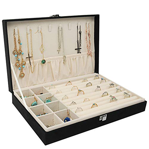 Jewelry Box Organizer, Necklace Holder, Rings Earrings Display Tray, Gift Case for Girls Women (Black)