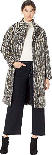 Juicy Couture Women's Hard Woven Boulevard Leopard Coat Pitch Black Boulevard Leopard Medium