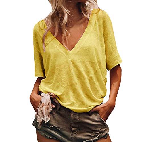 (Sunhusing Women's Loose Casual Solid Color Sexy Deep V-Neck Short-Sleeved Shirt Summer Joker T-Shirt Yellow)