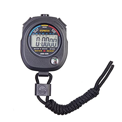 Flexzion Digital Stopwatch Chronograph Timer Sports Stop Watch Clock Professional Handheld for Swimming Running Interval Outdoor Activities With Large LCD Display Neck Strap (Swimming Digital Clock)