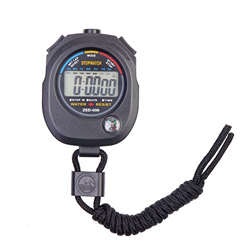 Flexzion Digital Stopwatch Chronograph Timer Sports Stop Watch Clock Professional Handheld for Swimming Running Interval Outdoor Activities With Large LCD Display Neck Strap Black