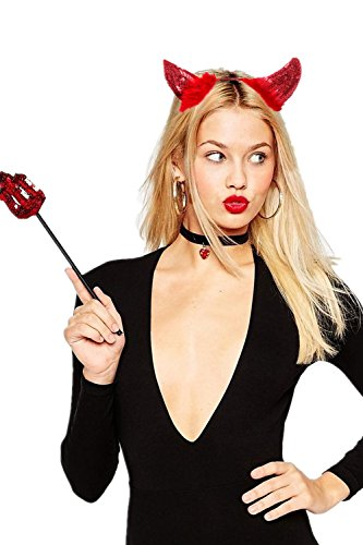 JeVenis Sequin Fluffy Devil Horns Headband Costumes Festival Party Hats (Red) for $<!--$9.99-->