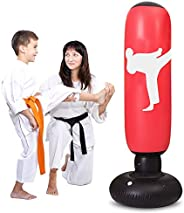 LEOHOME Inflatable Punching Bag for Kids, 63in Fitness Punching Bags Freestanding Boxing Target Bag Kick Boxin