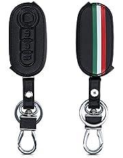 kwmobile autosleutelhoes compatibel met Fiat Lancia 3-knops inklapbare autosleutel - Hoesje van imitatieleer in groen/rood/zwart - Italiaanse Strepen