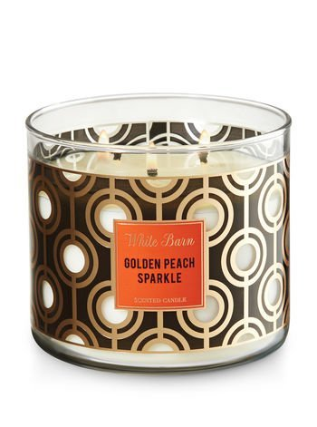 Bath and Body Works White Barn 2017 Golden Peach Sparkle Candle