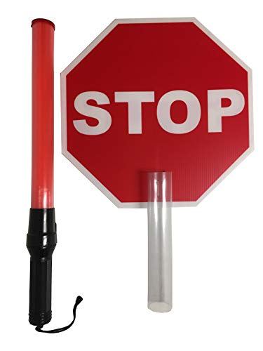 (Police Grade 6 LED Traffic Control Wand with Stop Sign Attachment Event Light)