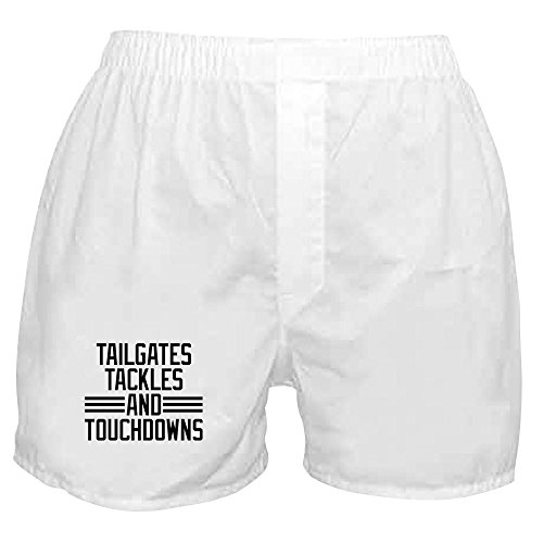 (CafePress - Tailgates Tackles and Touchdowns - Novelty Boxer Shorts, Funny Underwear White)
