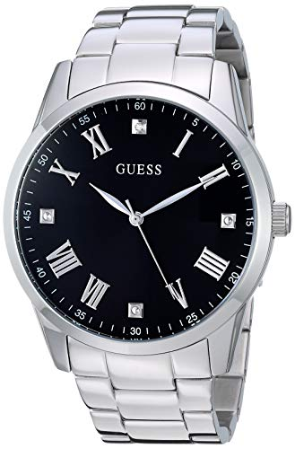 GUESS  Stainless Steel Bracelet Watch with Black Genuine Diamond Dial + Roman Numerals. Color: Silver-Tone (Model U1194G1) (Guess Black Diamond Accent Watch)
