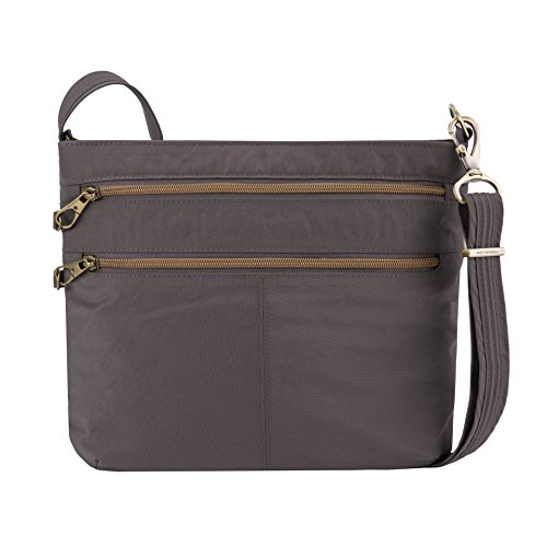 Double Zip Purse - Travelon Anti-theft Signature Double Zip Cross Body Bag, Smoke